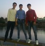 It's me with my friend on the beach of Syr Darya.
