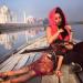Taking a boat outside the Taj Mahal