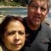 with my husband visiting a beach near Santiago