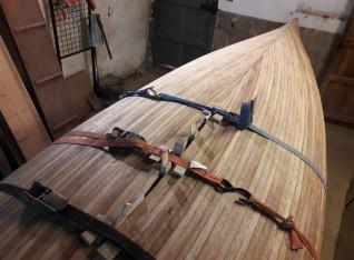 Final strips of the canoe
